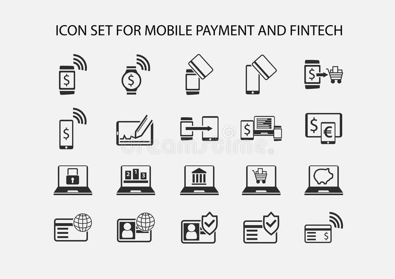 Simple icon set for mobile payment and electronic payment. royalty free illustration