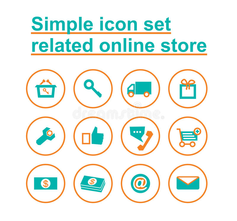 Simple icon set related online store royalty free illustration