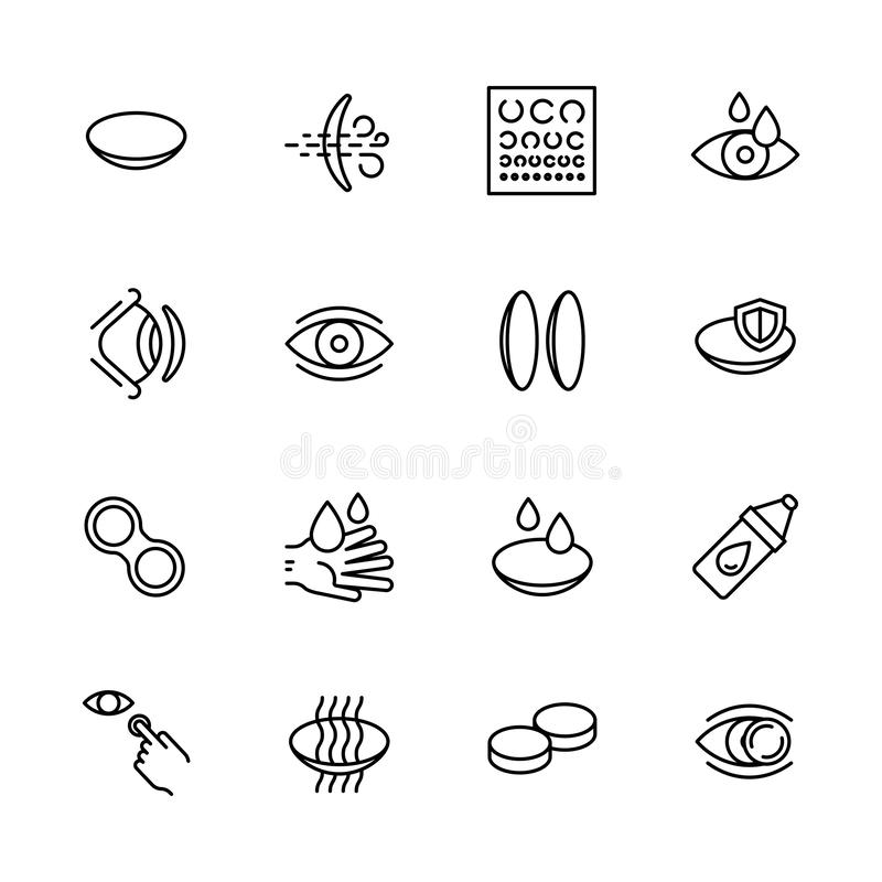 Simple icon set vision, eyesight, ophthalmology and eyes care concept. Contains such symbols contact lenses, vision. Diagnostics, eye drops and other stock illustration