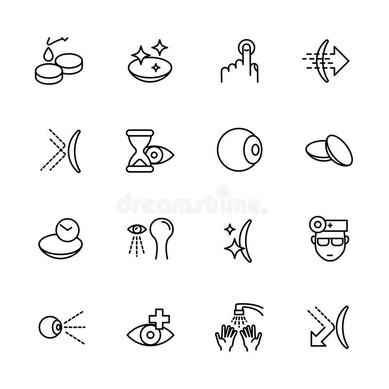 Simple icon set vision, eyesight, ophthalmology, eyes care, treatment and medicine concept. Contains such symbols. Contact lenses, vision diagnostics, eye drops stock illustration