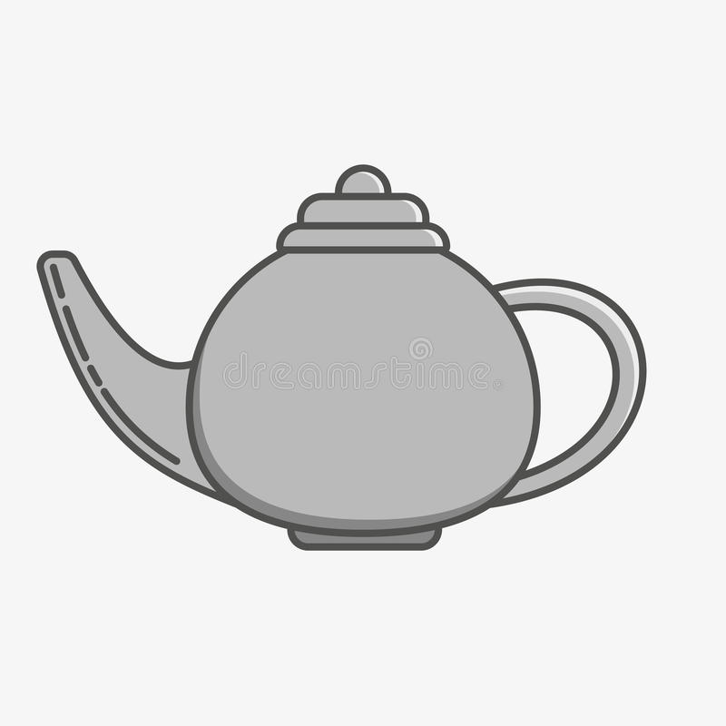 Simple icon of a teapot on grey background. stock photos