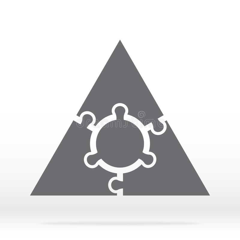 Simple icon triangle puzzle in gray. Simple icon triangle puzzle of the three elements  and center on white background. stock illustration
