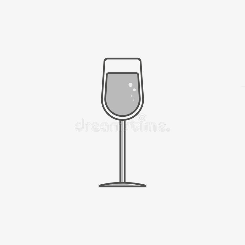 A simple icon of wine glass with champagne stock image