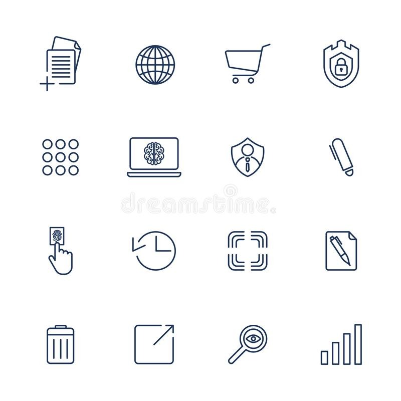 Simple icons for app, programs and sites. Set with different icons royalty free illustration