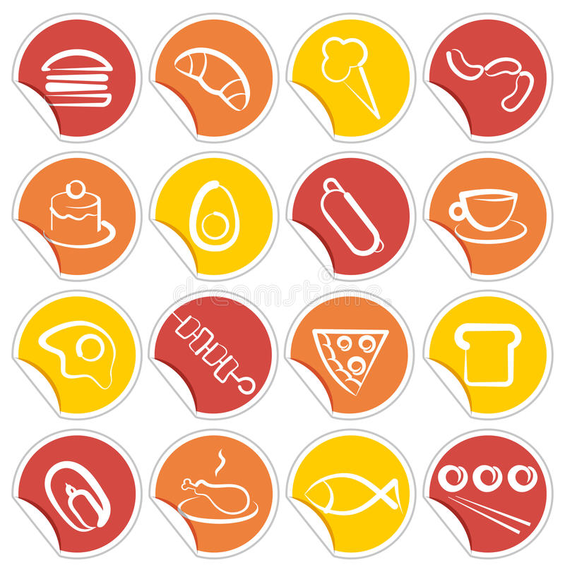 Simple icons of food on stickers