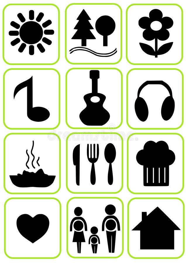 Download Simple icons set stock vector. Image of cutlery, note - 28673839
