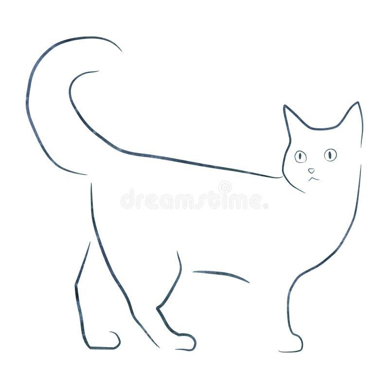 Simple illustartion de chat de dessin au trait photo stock - Dessin de chat simple ...