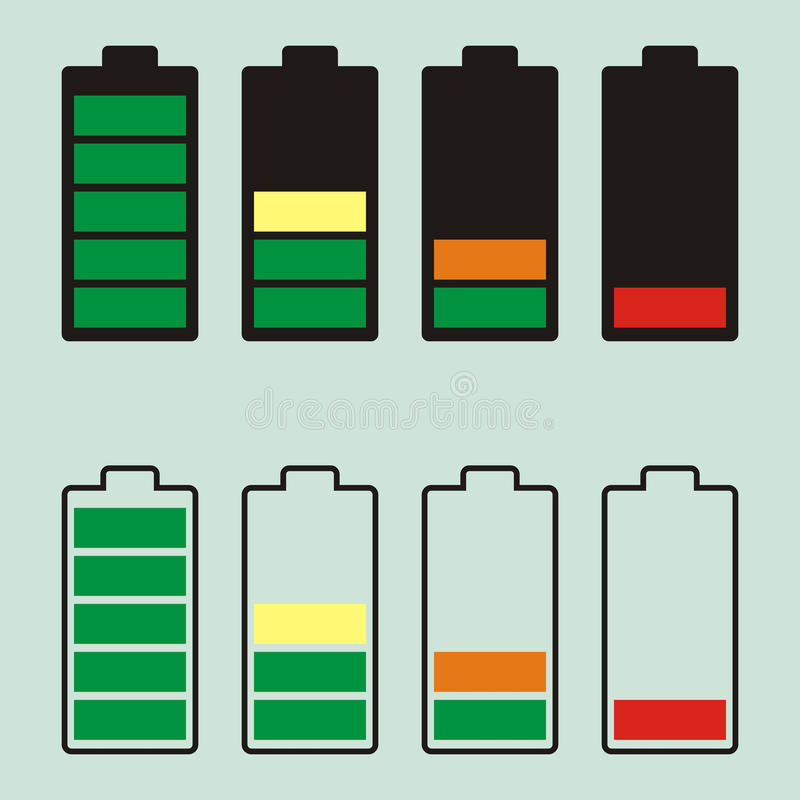 Simple illustrated battery icon with colorful charge level.  vector illustration