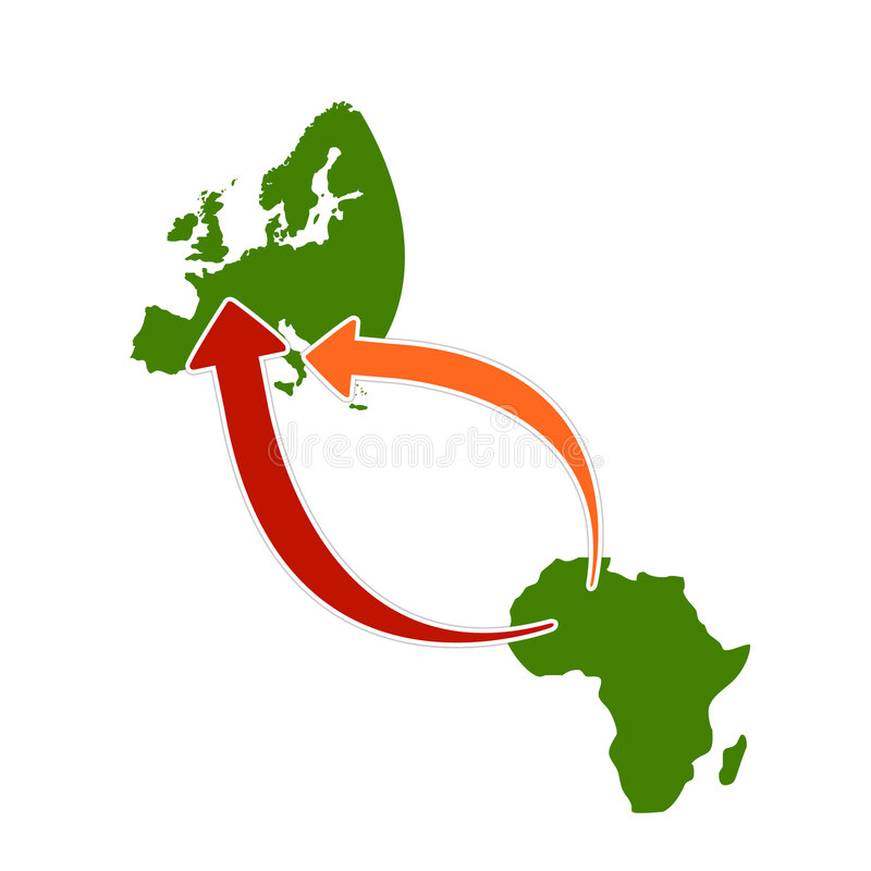 Simple illustration about emigration from Africa. Vectorial illustration of europe and africa and consequent emigration directions with simple shapes vector illustration