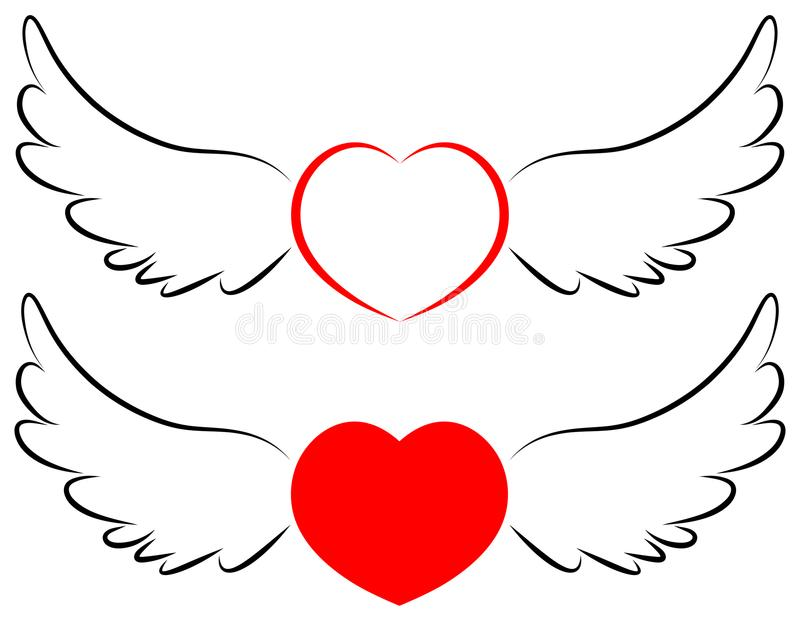 Flying heart symbol in wings vector illustration