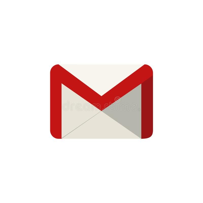 Simple illustration of a Google Mail logo icon with flat design. Isolated on a white background stock illustration
