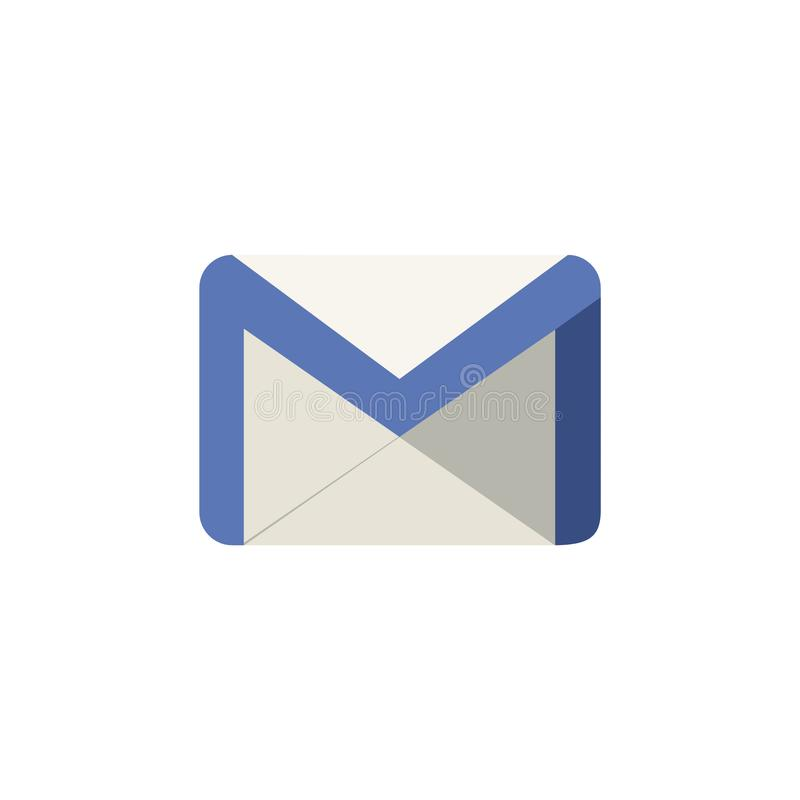 Simple illustration of a Google Mail logo icon with flat design. Isolated on a white background vector illustration