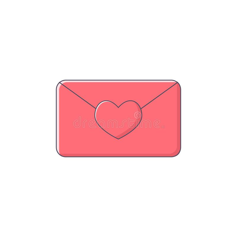 Simple illustration love letter with heart pink color flat design stock illustration