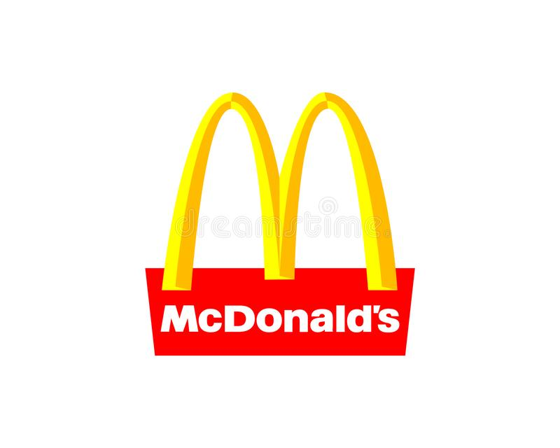 Illustration of the McDonald`s logo with flat design stock images