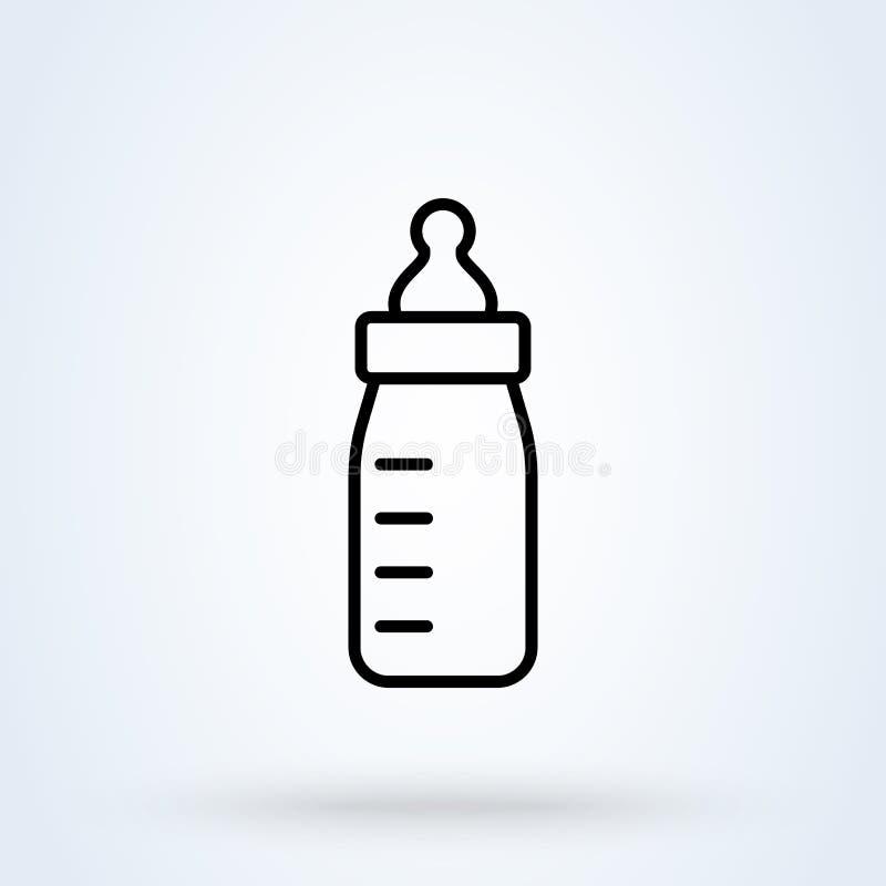 Simple illustration moderne vecteur de biberon de conception d'icône de schéma illustration libre de droits