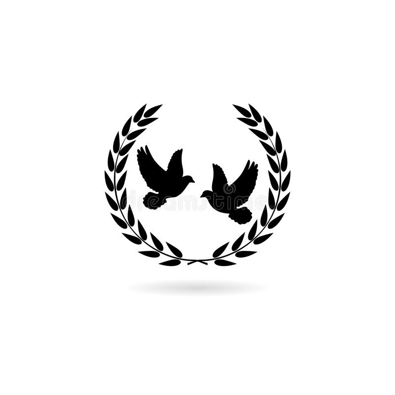 Simple illustration of peace pigeon icon for web design isolated on white background royalty free illustration