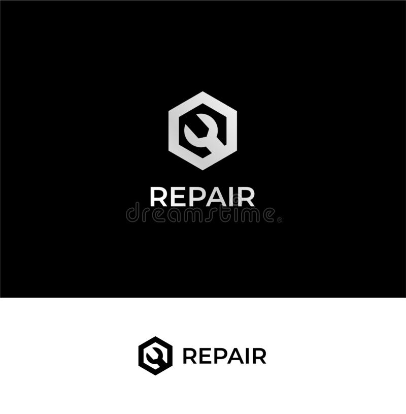 R lettermark repair business related logo template. This is simple illustration of repair tools. It suit for business that provide repair or maintenance service vector illustration