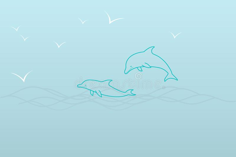 A simple illustration of a sea in shades of blue – two dolphins in the waves and seagulls. Simple nautical illustration of a circuit in shades of blue royalty free illustration