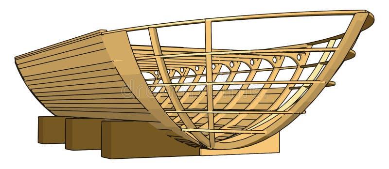 Simple ilustración vectorial de una quilla de madera stock de ilustración