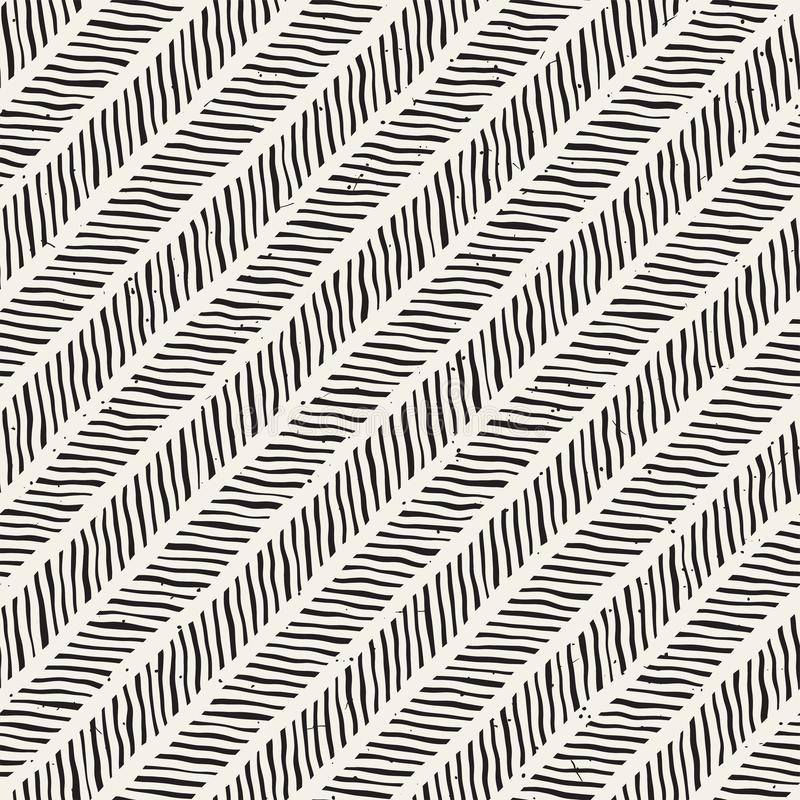 Simple ink geometric pattern. Monochrome black and white lines background. Hand drawn ink brushed zigzag texture. Simple ink lines geometric pattern. Monochrome vector illustration