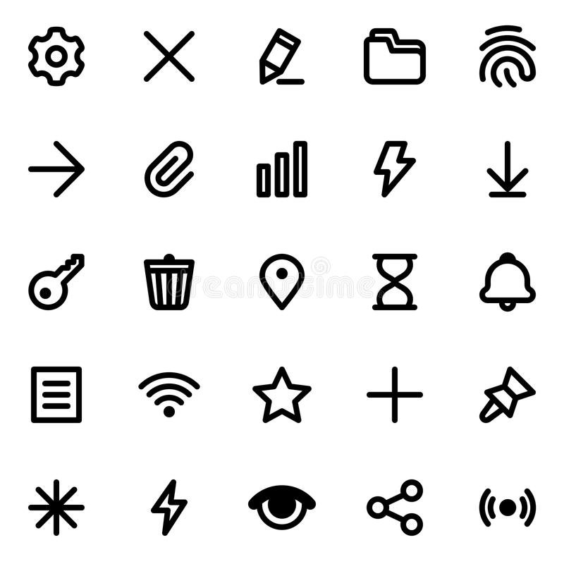 Simple interface vector icons set. Simple web or mobile interface vector icons set. Isolated on white background vector illustration