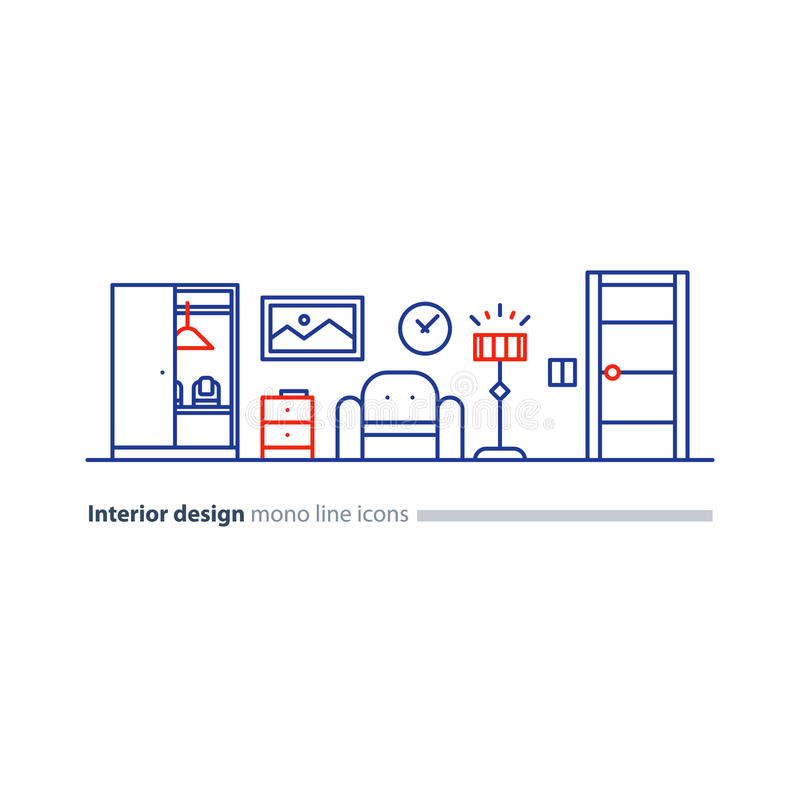 Apartment Services: Floor Furniture Icons Plan Stock Illustrations