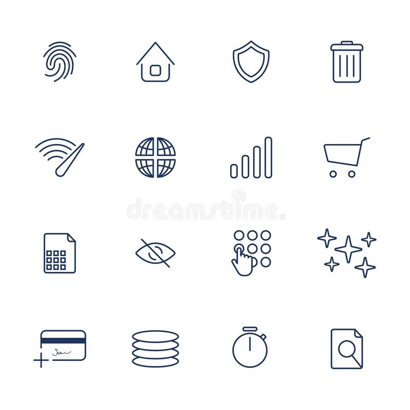 Simple internet icons set. Universal internet icons stock illustration