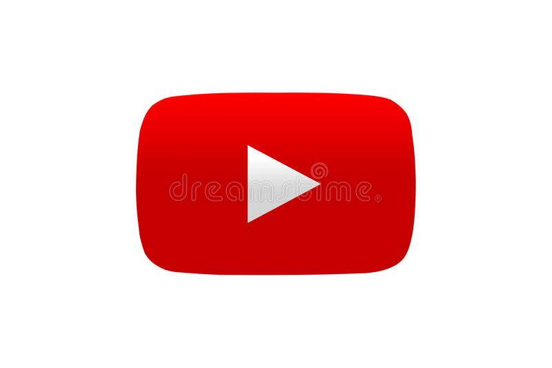 Simple isolated red YouTube logo icon. royalty free stock image
