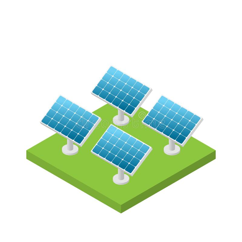 Free Simple Isometric Solar Cell Power Plant Isolated Stock Photo - 111820050