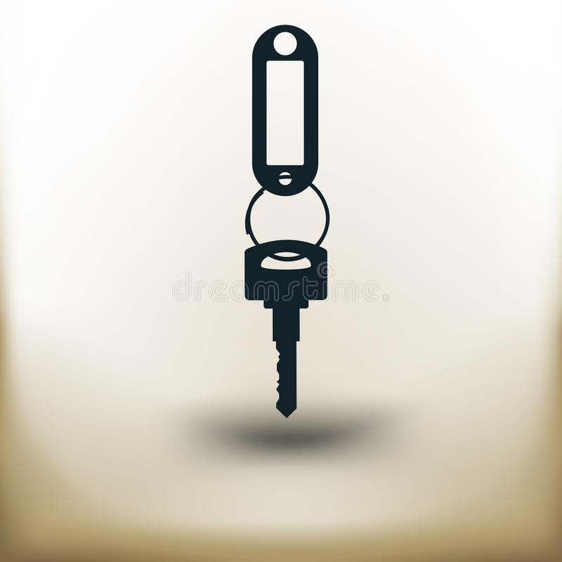 Simple key. Simple symbolic image of a key with a key fob royalty free illustration