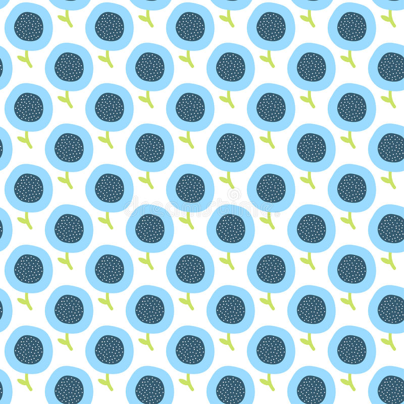Simple Kids Flower Pattern Doodle Seamless Background Cute Blue