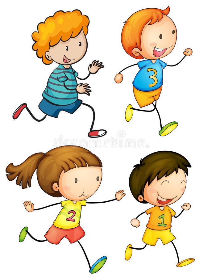 Simple kids running royalty free stock photos