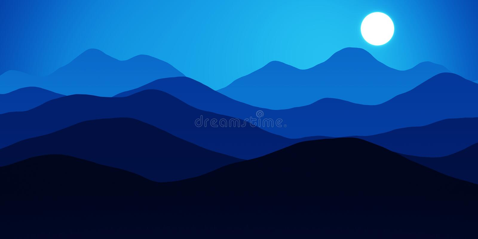 Simple landscape with mountains over sun. Panorama scale ratio 8:4 royalty free illustration