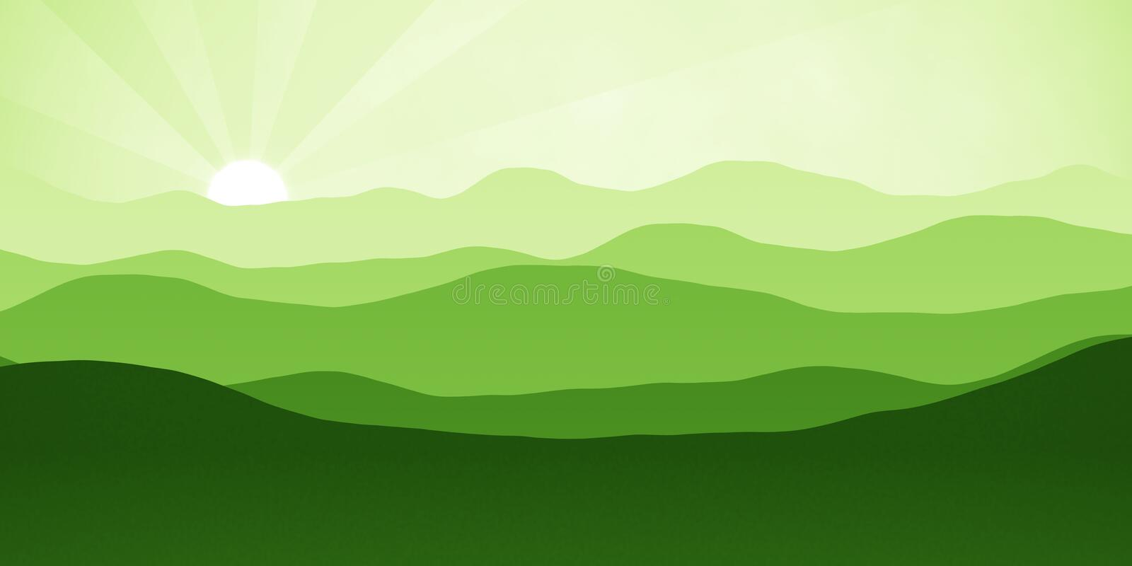 Simple landscape with mountains over sun. Panorama scale ratio 8:4 stock illustration