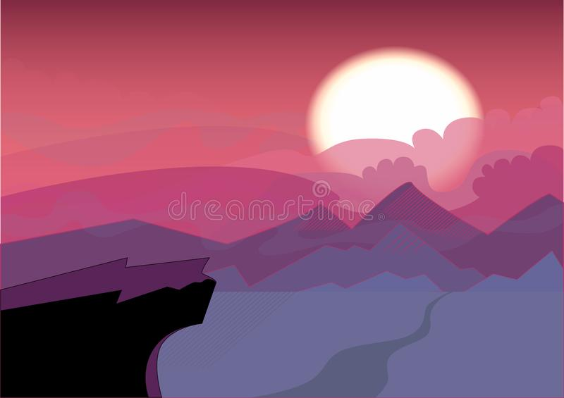 Simple Landscape with sunset. The sun sets over the horizon, the cliff in the foreground. Crimson tones stock illustration