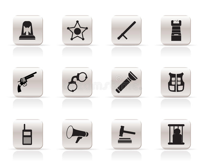 Download Simple Law, Order, Police And Crime Icons Stock Vector - Illustration of arranging, equipment: 10952752