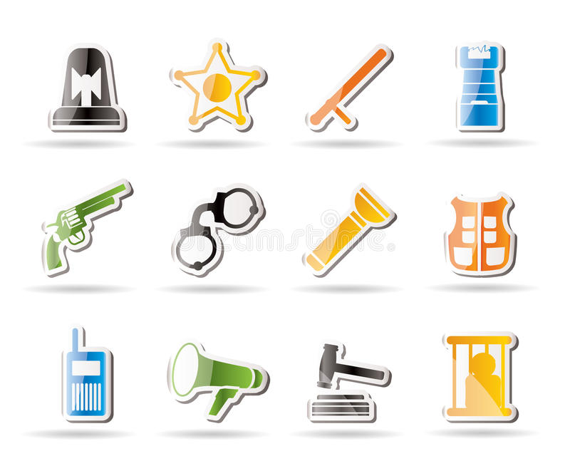 Download Simple Law, Order, Police And Crime Icons Stock Vector - Illustration of arranging, radio: 16183396