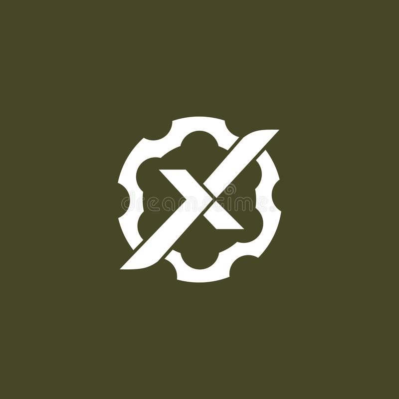 Simple letter X with gear vector logo template tactical theme. Good for military andtactical companies logo. or airsoft gun and firearms store stock illustration