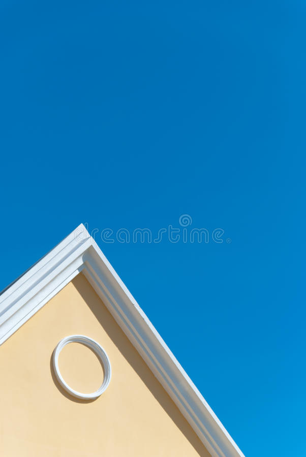 Simple line of architecture. On blue sky background stock photography