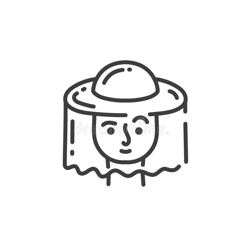 Simple line art icon of beekeeper`s head in a protective hat vector illustration