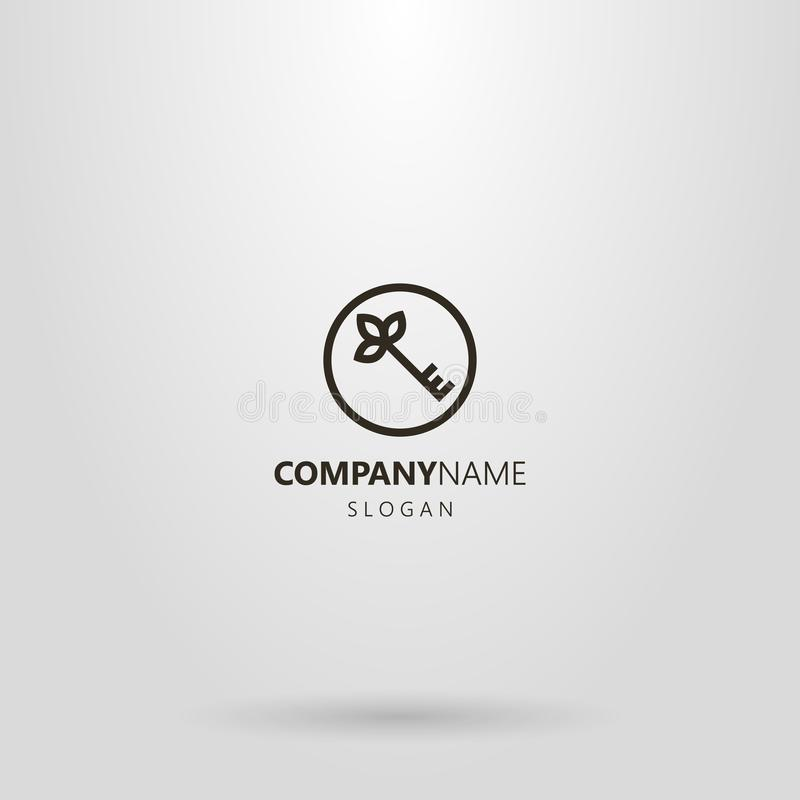 Simple line art logo key with petals at the top in a round frame stock illustration
