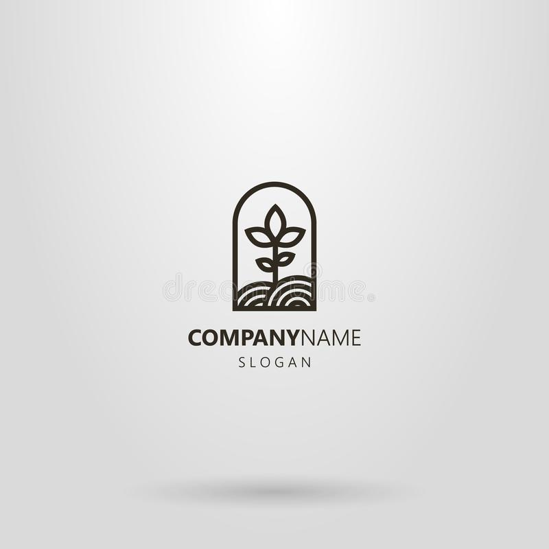 Simple line art logo of a plant growing on a plot of land in an arched frame. Black and white simple line art logo of a plant growing on a plot of land in an royalty free illustration