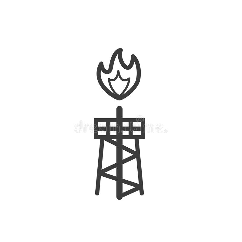 simple line art outline icon of a burning oil rig vector illustration