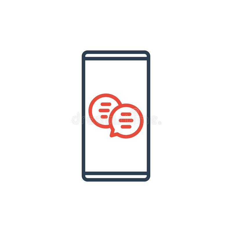 Simple Line of Cell Phone Vector Icon - Message bubble chat and mobile dialog vector illustration
