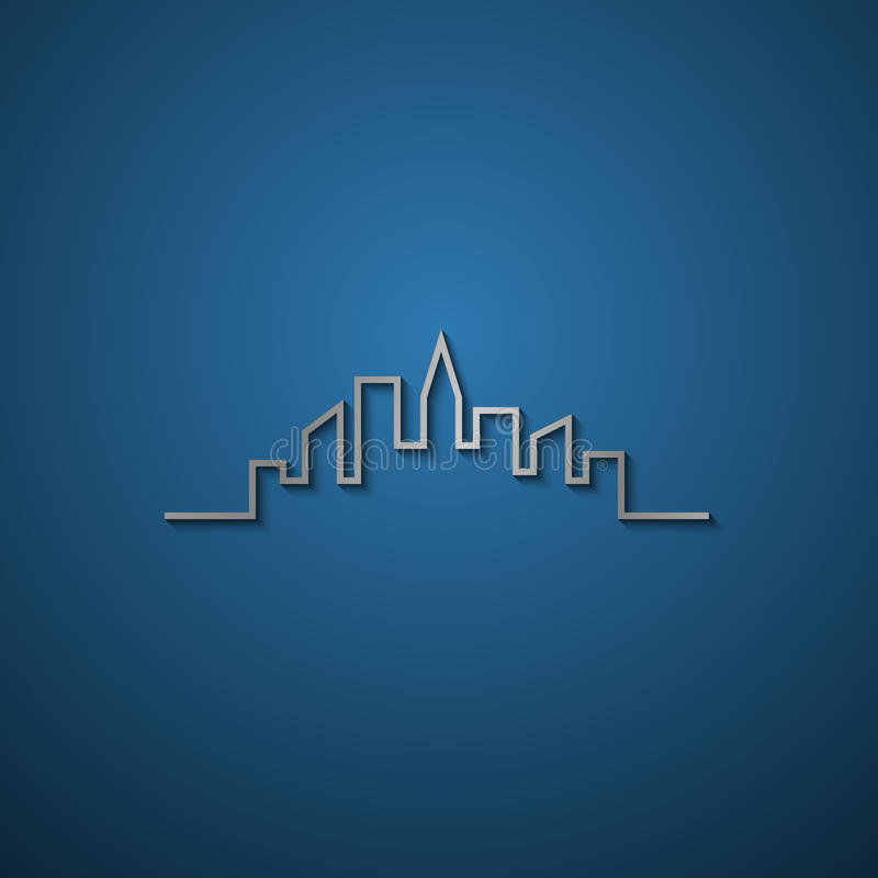 Cityscape Simple Symbolic Drawing Stock Vector