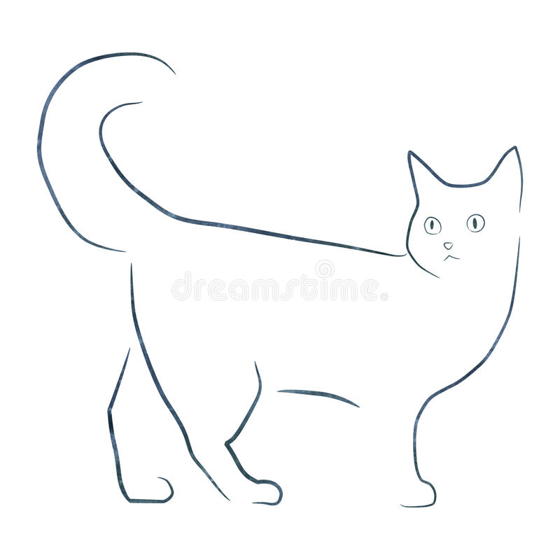 Simple line drawing cat illustartion. With paper texture stock photo