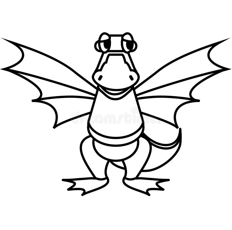 Line Drawing App : Simple line drawing kind dragon stock vector