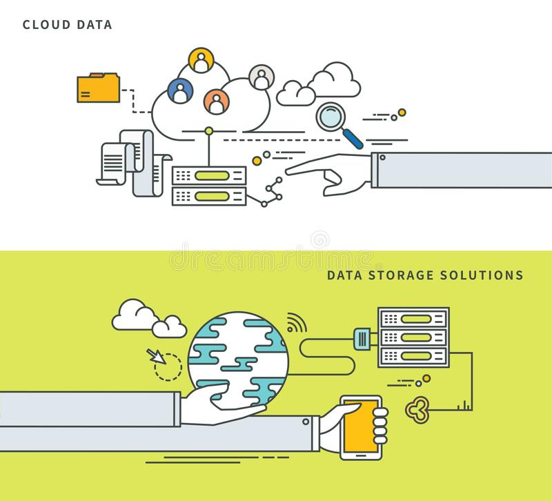 Line Design Solutions : Simple line flat design of cloud data storage