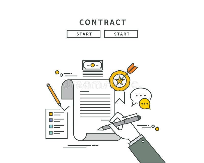 Simple line flat design of contract, modern illustration vector illustration