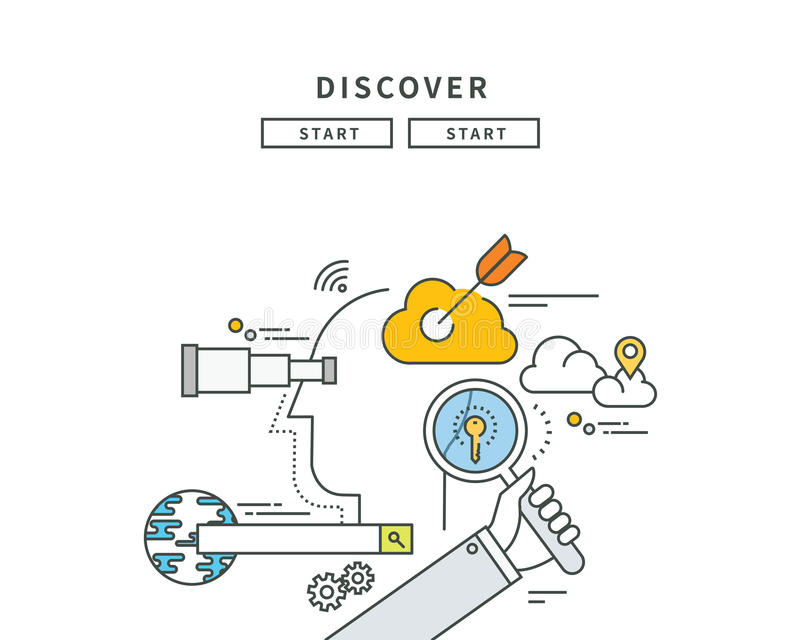 Simple line flat design of discover idea, modern illustration. ! royalty free illustration